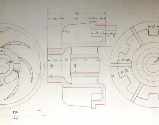 anni 60 progetto particolare pompa sommersa